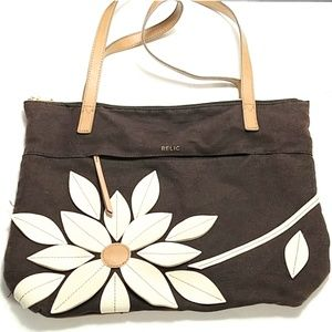 Relic flower petals purse brown & tan